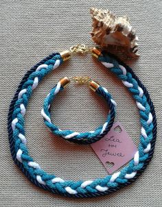 The colors of the sea braided cord set