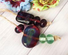 Handmade Lampwork Glass Beads From Murano Glass Multi-Color 7 Pcs #HandmadeLampworkBeads #Lampwork