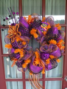 Halloween Deco Mesh Door Wreath. $69.00, via Etsy.