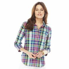 Chaps Non-Iron Fitted Gingham Shirt