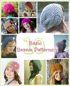 10 Free Basic Beanie Crochet Patterns via Hopeful Honey.  Click on the name of the beanie to get thr free pattern.
