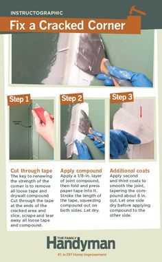 DIY Tutorial: How to Fix a Cracked Corner. Learn how to repair drywall to strengthen a weak corner and hide unattractive cracks.