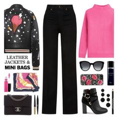 """Leather Jacket & Mini Bag"" by lgb321 ❤ liked on Polyvore featuring Coach, Khaite, Miss Selfridge, Chanel, Diane Von Furstenberg, Yves Saint Laurent, Christian Dior, Estée Lauder, Gucci and MAC Cosmetics"