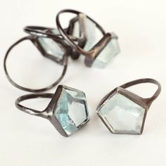 ((The aquamarine Hex rings by Aesa)) Oh.the staggering understated beauty of the blue shade of aquamarine!LOVE these rings. Jewelry Box, Jewelry Rings, Jewelry Accessories, Fashion Accessories, Jewelry Design, Fashion Jewelry, Jewelry Making, Jewellery, Bling