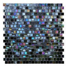 Invite light into living spaces with these iridescent tiles. Suitable for kitchens and baths, the art glass mosaic tiles feature an offset square pattern that blends glossy black with shimmering opal