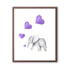 Pink and Gray Nursery Art, Elephant Nursery Decor, Baby Girl Nursery Decor, Elephant Watercolor, Hea Elephant Nursery Decor, Elephant Wall Art, Baby Girl Nursery Decor, Baby Elephant, Baby Room, Purple Nursery Decor, Purple Elephant, Nursery Signs, Nursery Ideas