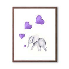 Purple and Gray Nursery Art Elephant Nursery by TheDaisyFields