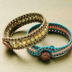 interweave-beading-leather-bracelets