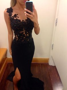 2015 mermaid black prom dress with lace beaded chiffon slit prom gown,Gorgeous prom photo from Loving this black lace prom dress Black Prom Dresses, Cheap Prom Dresses, Simple Dresses, Pretty Dresses, Homecoming Dresses, Dress Black, Chiffon Dresses, Dress Prom, Dress Formal