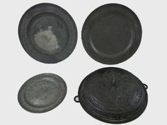 18th C. English Pewter Plates and Copper Pan : Lot 77  www.JJamesAuctions.com