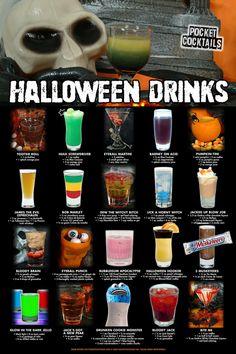 Halloween Cocktails, Halloween Snacks, Halloween Bebes, Hallowen Food, Halloween Party Decor, Halloween Fun, Adult Halloween Drinks, Halloween Themed Food, Halloween Shooters