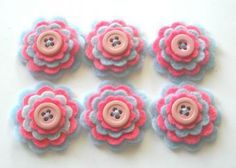 Hot Pink and Baby Blue Felt Flowers Embellishments for Scrapbooking, Card Making, Hair Accessories, Gift Wrap by Paperika for $6.00