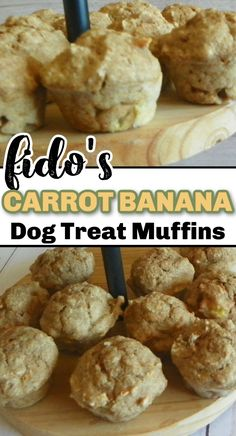 These Carrot Banana Dog Muffins are the perfect treat to feed your favorite four-legged family members. They're moist, delicious, and will have your dogs begging for more. Dog Muffin Recipe, Easy Dog Treat Recipes, Mini Muffins, Healthy Treats, Dog Treats, Carrots, Cookie, Banana, Dog Stuff