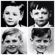 Four tots who grew up to be, from left to right, John, Paul, George, Ringo.