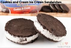 Cookies and Cream Ice Cream Sandwiches are a delicious frozen dessert that is especially great on a hot summer day. With only three ingredients needed, this no bake dessert is quick and easy to make. These chocolate Oreo ice cream sandwiches are just like TGI Friday's Oreo Madness dessert.  - Cookies and Cream Ice Cream Sandwiches Recipe on Sugar, Spice and Family Life