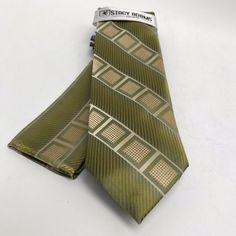 Men S Stacy Adams Tie Hanky Green Khaki Mustard Boutique