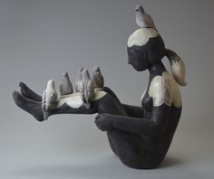 Black and white - woman with birds - sculpture - Holly Curcio