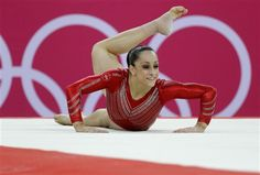 Jordyn Wieber performs on the floor event during the women's team final in London.