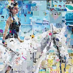 "Saatchi Art is pleased to offer the collage, ""Summer Ride,"" by Derek Gores. Original Collage: Paper, Magazines on Wood. Size is 0 H x 0 W x 0 in. Art Du Collage, Collage Portrait, Collage Artists, Alex Colville, Andrew Wyeth, Botanical Illustration, Illustration Art, Derek Gores, Akira"