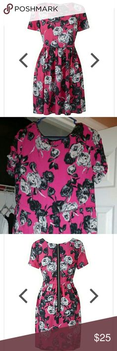 "Super cute pink print skater dress NWT Floral pink print, rayon, machine washable, zippered up detail in back, skater style silhouette, short sleeves. 36"" in length. Simply Be Dresses Midi"