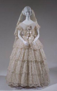 Circa 1840-50 wedding gown via Bunka Gakuen Costume Museum