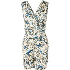 Isabel Marant Étoile printed ruched dress ($340) ❤ liked on Polyvore featuring dresses, multicolour, white v neck dress, v neck short dress, v neck dress, short white dresses and cotton dress