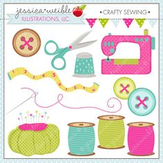 Crafty Sewing Cute Digital Clipart for by JWIllustrations on Etsy, $5.00