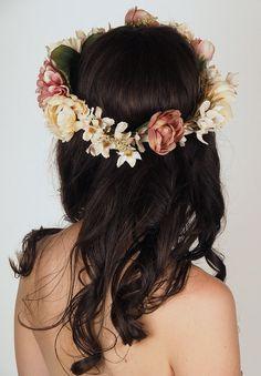 Poetic Floral Crown Wedding Head Piece by sweetlittlesparrow