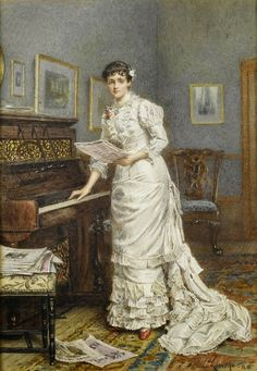 British Paintings: A Young Woman at a Piano (1880) - George Goodwin Kilburne