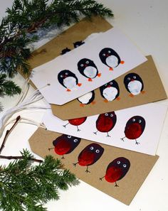 Thumbprint Penguins and Birds, for Greeting Card, Gift Tag, or Painting Project