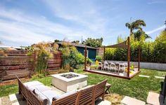 Garten Ideen für Sitzgruppe um die Feuerstelle-Sonnensegel über dem Essbereich