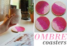 Easy Mother's Day DIY  ombre coasters  pink and gold  #MothersDay