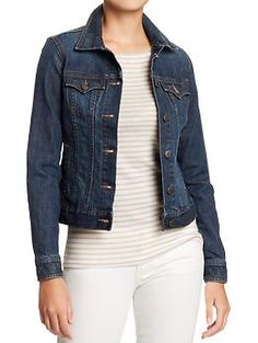 Womens Denim Jackets - Our denim jacket revives a stylish classic with trend conscious details. Front chest pockets feature an arched pocket flap. Longer length provides room for generous welt pockets.