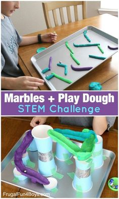 In A Jar Science Experiment Marbles and Play Dough STEM Challenges - Two ways to tinker with these simple materials!Marbles and Play Dough STEM Challenges - Two ways to tinker with these simple materials! Steam Activities, Home Activities, Toddler Activities, Stem Activities For Kindergarten, Stem Preschool, Stem Teaching, Outside Activities For Kids, School Age Activities, Camping Activities
