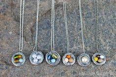 DIY birds nest necklaces