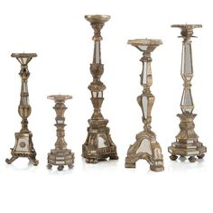 Product Image for John Richard Mirrored Candlesticks (Set of 5) 1 out of 2