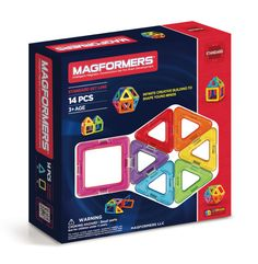 Magformers Set (14 PCS) - Create 3D structures from 2D nets with the award winning Rainbow 14Pc Set. Arriving with squares and triangles that are perfect for little fingers to start building a 'magic ball', houses, towers and much more! See what your imagination will create! Each geometric shape contains magnets that never reject, so you'll always hear the MAGFORMERS® click. When playtime is over, use the magnetic power to simply stack and store.