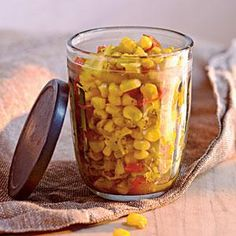 Sweet Corn Relish |With our simple refrigerator relish recipe, you can preserve a bumper crop of corn for up to six weeks. Serve with any grilled meat or fish, or spoon over salad greens. MyRecipes.com