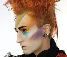 So this is on a man, but... totally great interpretation of new wave makeup.
