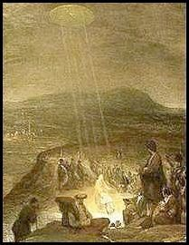 """This painting is by flemish artist Aert De Gelder and is entitled """"The Baptism of Christ"""". It was painted in 1710 and hangs in the Fitzwilliam Museum, Cambridge. A disk shaped object is shining beams of light down on John the Baptist and Jesus. This shows an awareness of UFOs by this artist in 1710."""