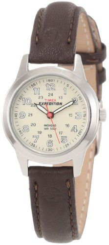 Timex Women`s T40301 Expedition Metal Field Brown Leather Strap Watch $35.00