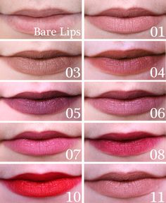Essence Lip Liner Swatches top to bottom: Bare Lips, 01 Soft Rose, 03 Hot Chocolate, 04 Honey Bun, 05 Soft Berry, 06 Satin Mauve, 07 Cute Pi...