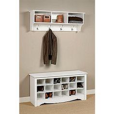 Prepac™ Composite Wood Shoe Storage Cubbie Bench, White