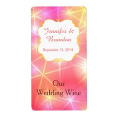 Colorful Sparkles Custom Wedding Mini Wine Label features the colors pink, yellow and coral with a white plaque to show off your names and wedding date.  A beautiful choice for wedding favors that look super cute when set out for guests on the reception tables.  Easy to personalize.  You add the miniature wine or champagne bottles.  So cute for a pink theme wedding.