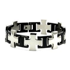 Two-Tone Stainless Steel Men's Cross Link Bracelet (20mm Wide) 9 Inches West Coast Jewelry. $25.95. Save 35% Off!