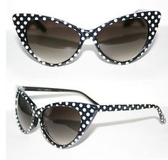 Cat Eye 50 S Vintage Sunglasses Polka Dots White Black Petticoat Cateye Pinup for sale online Pin Up Vintage, 50s Vintage, Vintage Style, Pinup, Style Rockabilly, Sunglasses For Your Face Shape, Four Eyes, Cat Eye Glasses, Pin Up Style