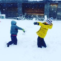 Happy snow storm!  Snow fight btwn Mason and cybelle #livingthelife