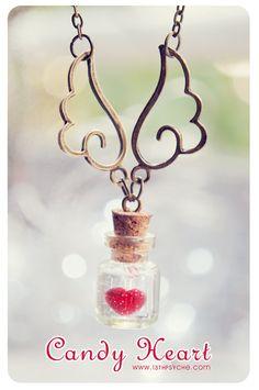 Heart bottle pendant Tiny glass Bottle Necklace. love potion