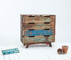 Driftwood Reclaimed 4 Drawer Chest, Reclaimed Timber, Rustic Design Stunning
