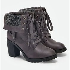 Fold Over Combat Boots - Polyvore